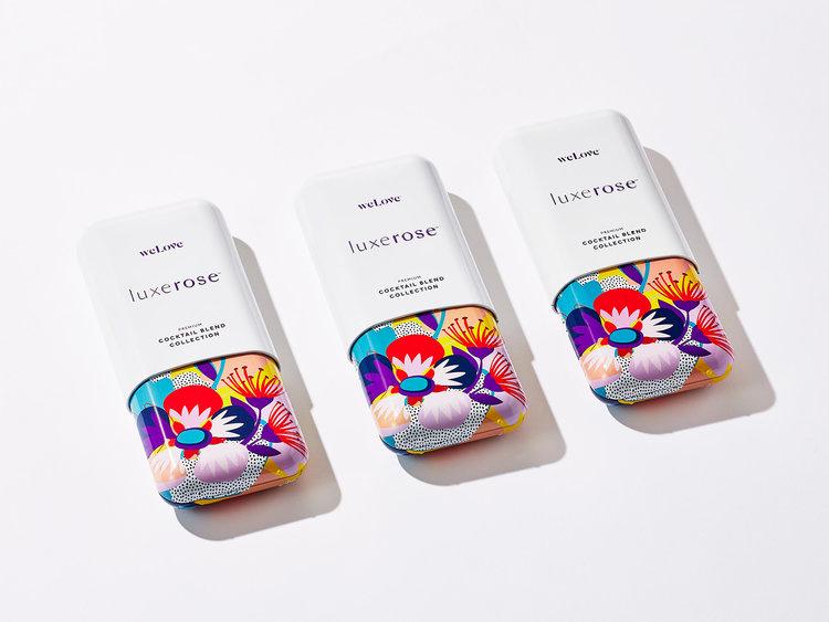 鲜艳、缤纷、有趣的Luxerose鸡尾酒包装设计插画设计